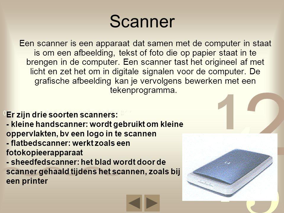 Scanner Een scanner is een apparaat dat samen met de computer in staat is om een afbeelding, tekst of foto die op papier staat in te brengen in de com