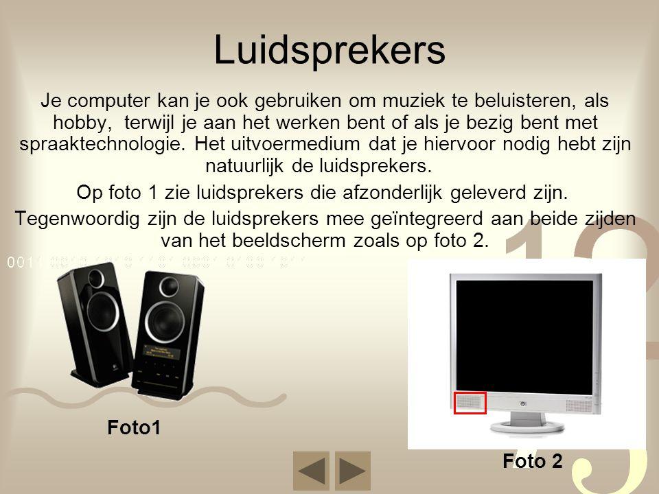 Luidsprekers Je computer kan je ook gebruiken om muziek te beluisteren, als hobby, terwijl je aan het werken bent of als je bezig bent met spraaktechn