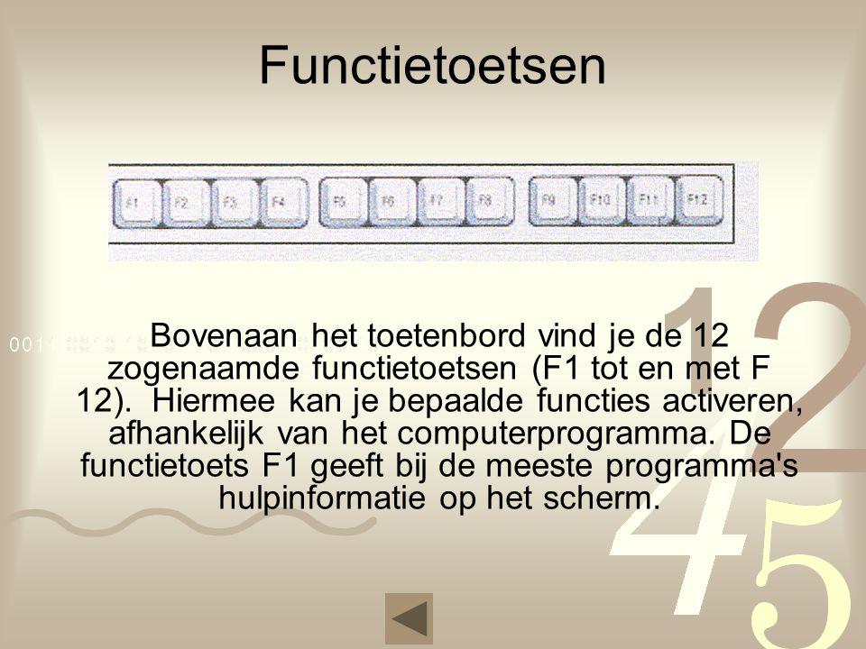 Functietoetsen Bovenaan het toetenbord vind je de 12 zogenaamde functietoetsen (F1 tot en met F 12). Hiermee kan je bepaalde functies activeren, afhan