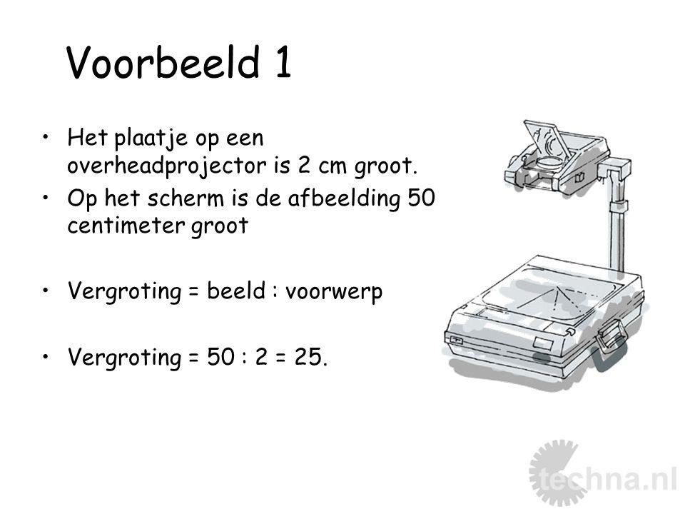 Voorbeeld 1 Het plaatje op een overheadprojector is 2 cm groot. Op het scherm is de afbeelding 50 centimeter groot Vergroting = beeld : voorwerp Vergr