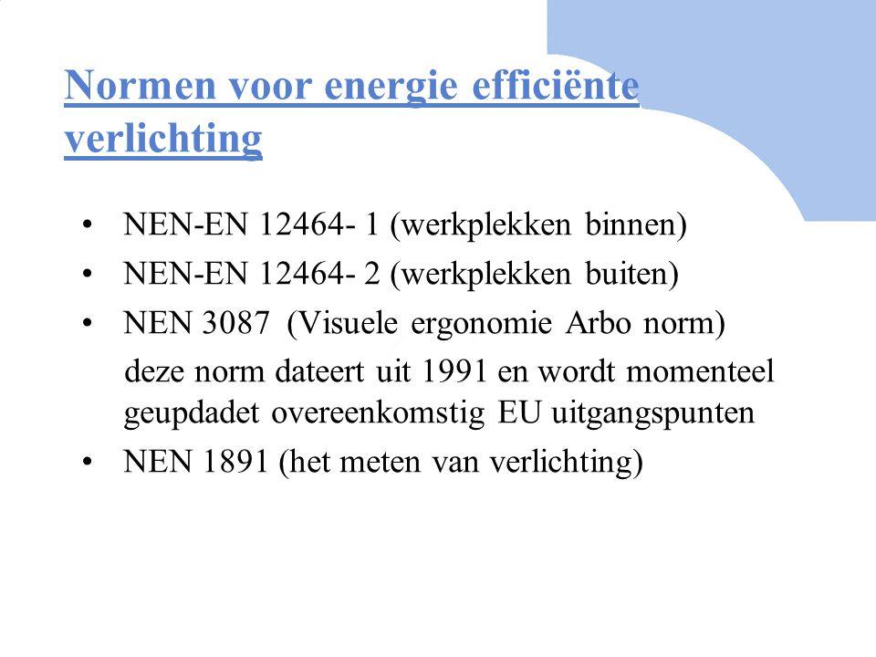 Normen voor energie efficiënte verlichting NEN-EN 12464- 1 (werkplekken binnen) NEN-EN 12464- 2 (werkplekken buiten) NEN 3087 (Visuele ergonomie Arbo