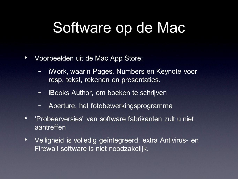Software op de Mac Voorbeelden uit de Mac App Store:  iWork, waarin Pages, Numbers en Keynote voor resp.