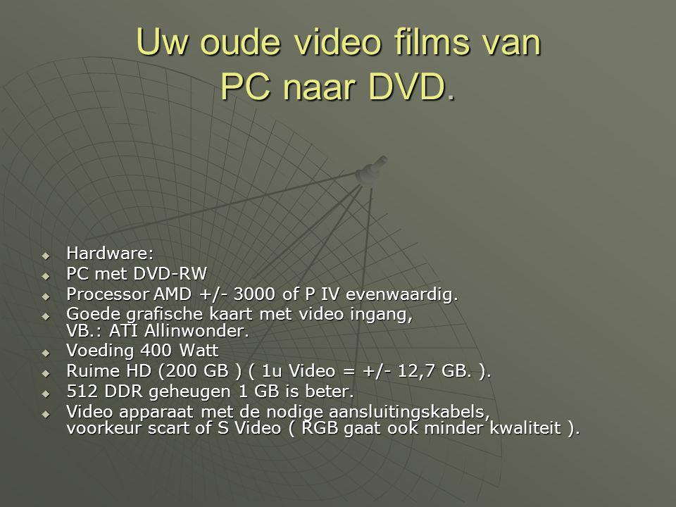 Uw oude video films van PC naar DVD.  Hardware:  PC met DVD-RW  Processor AMD +/- 3000 of P IV evenwaardig.  Goede grafische kaart met video ingan