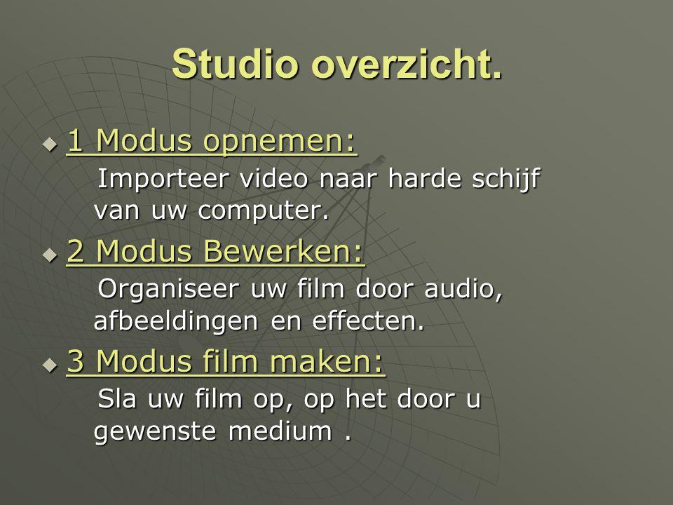 Studio overzicht.  1 Modus opnemen: Importeer video naar harde schijf van uw computer.  2 Modus Bewerken: Organiseer uw film door audio, afbeeldinge
