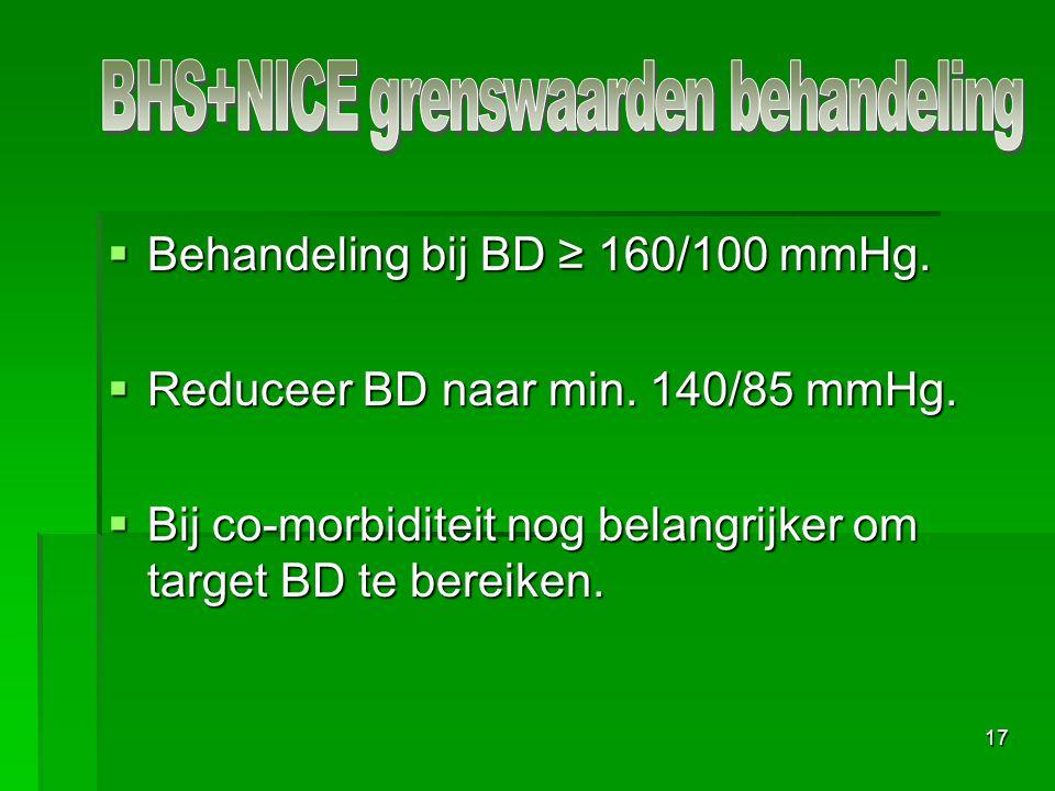 17  Behandeling bij BD ≥ 160/100 mmHg.  Reduceer BD naar min. 140/85 mmHg.  Bij co-morbiditeit nog belangrijker om target BD te bereiken.