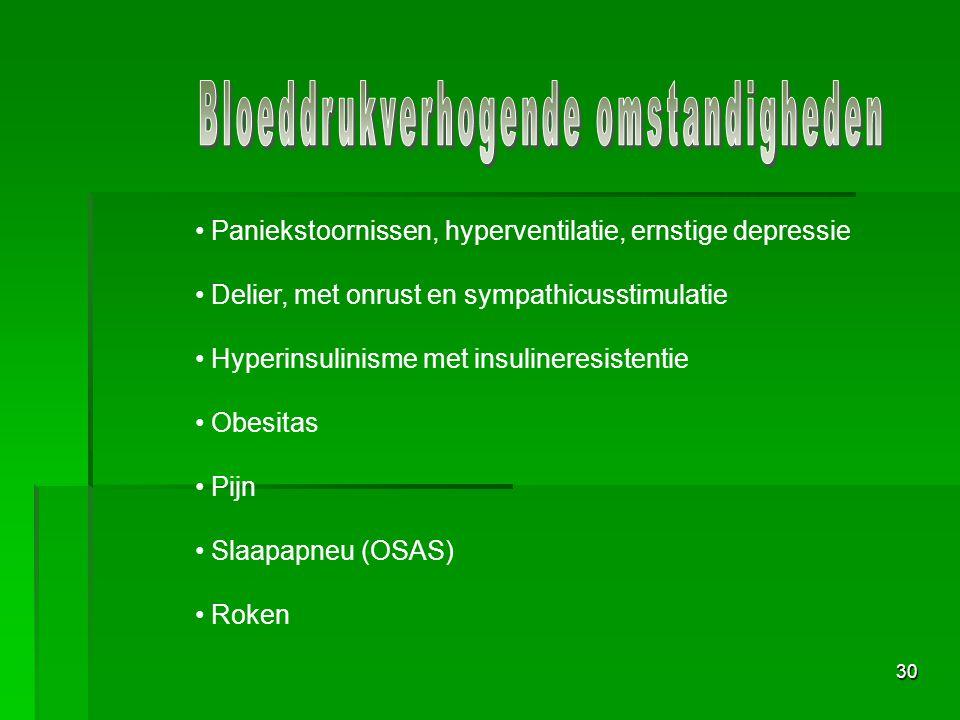 30 Paniekstoornissen, hyperventilatie, ernstige depressie Delier, met onrust en sympathicusstimulatie Hyperinsulinisme met insulineresistentie Obesitas Pijn Slaapapneu (OSAS) Roken