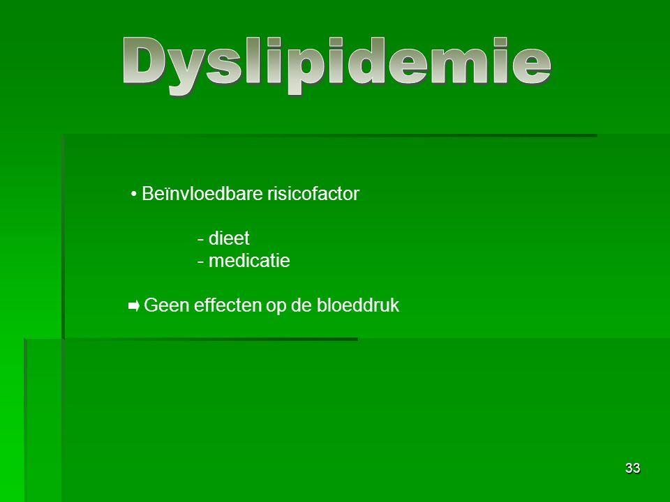 33 Beïnvloedbare risicofactor - dieet - medicatie Geen effecten op de bloeddruk