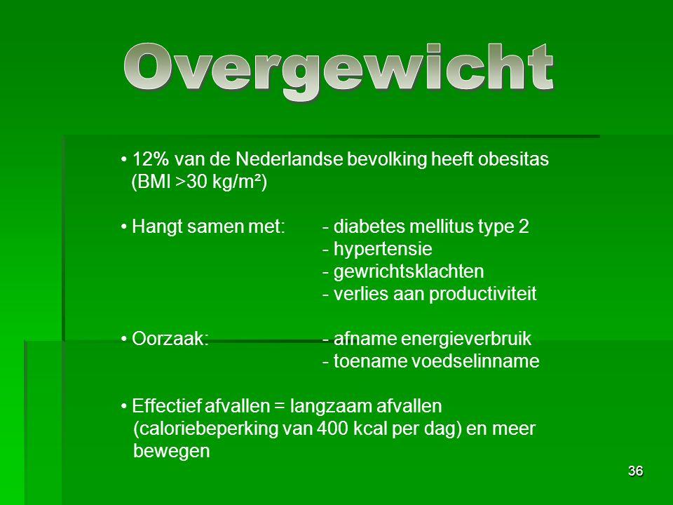 36 12% van de Nederlandse bevolking heeft obesitas (BMI >30 kg/m²) Hangt samen met:- diabetes mellitus type 2 - hypertensie - gewrichtsklachten - verlies aan productiviteit Oorzaak:- afname energieverbruik - toename voedselinname Effectief afvallen = langzaam afvallen (caloriebeperking van 400 kcal per dag) en meer bewegen