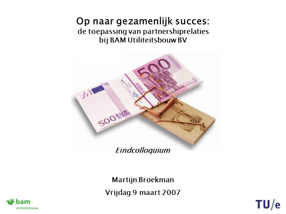 De toepassing van partnershiprelaties bij BAM Utiliteitsbouw BV Vrijdag 9 maart 2007 Aanpak van het afstudeeronderzoek Formulering onderzoekshoofdvraag: Het doel is het aanreiken van richtlijnen.