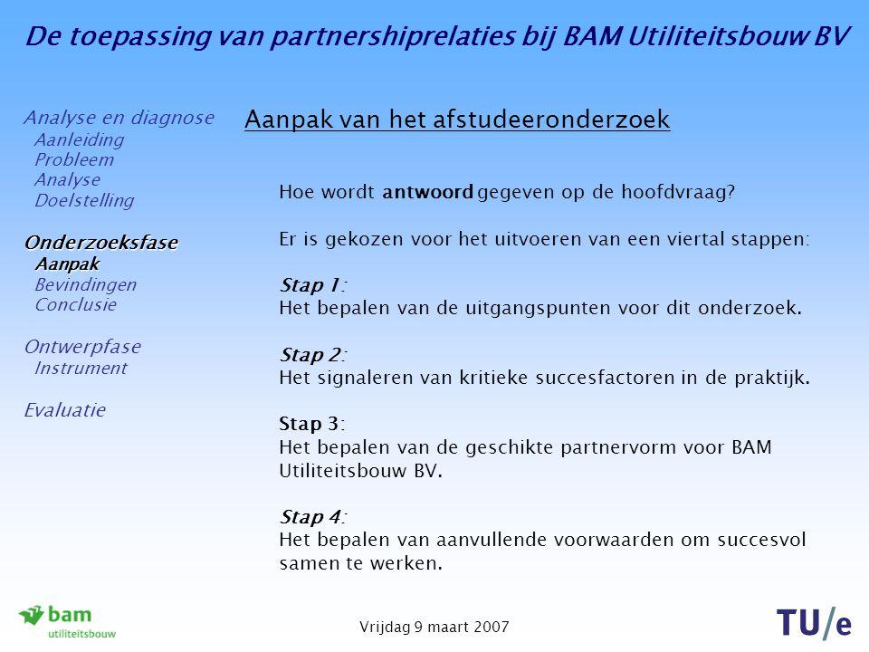 De toepassing van partnershiprelaties bij BAM Utiliteitsbouw BV Vrijdag 9 maart 2007 Aanpak van het afstudeeronderzoek Hoe wordt antwoord gegeven op de hoofdvraag.