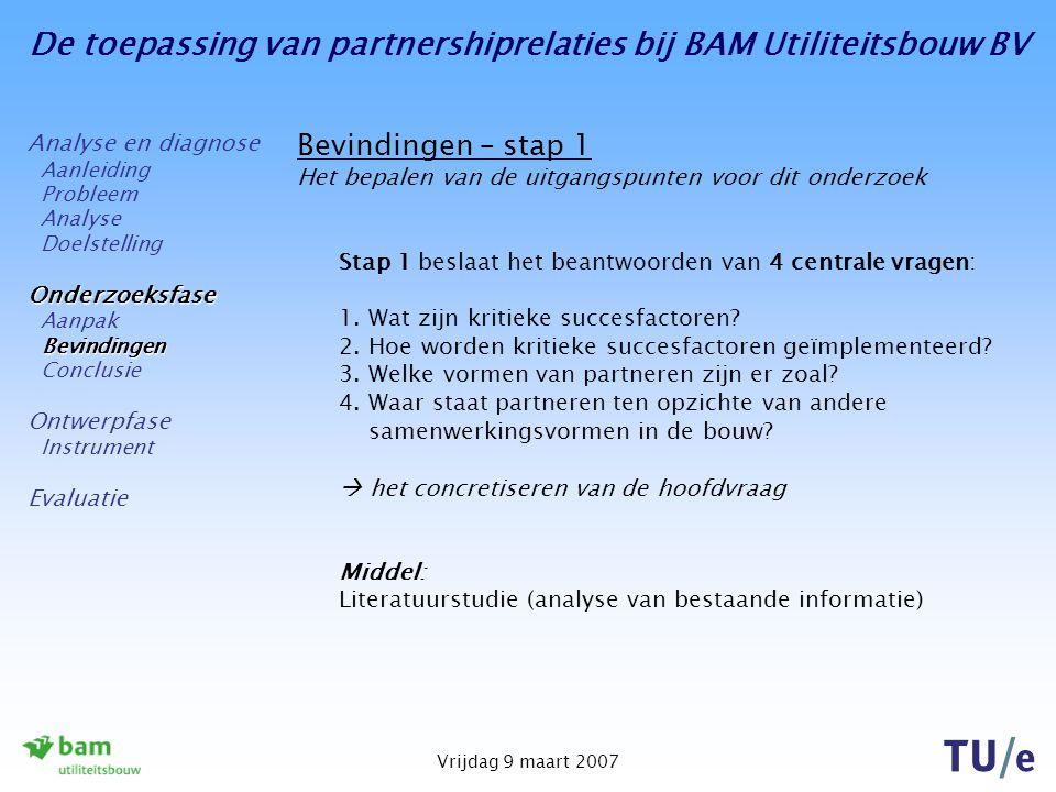 De toepassing van partnershiprelaties bij BAM Utiliteitsbouw BV Vrijdag 9 maart 2007 Bevindingen – stap 1 Het bepalen van de uitgangspunten voor dit onderzoek Stap 1 beslaat het beantwoorden van 4 centrale vragen: 1.