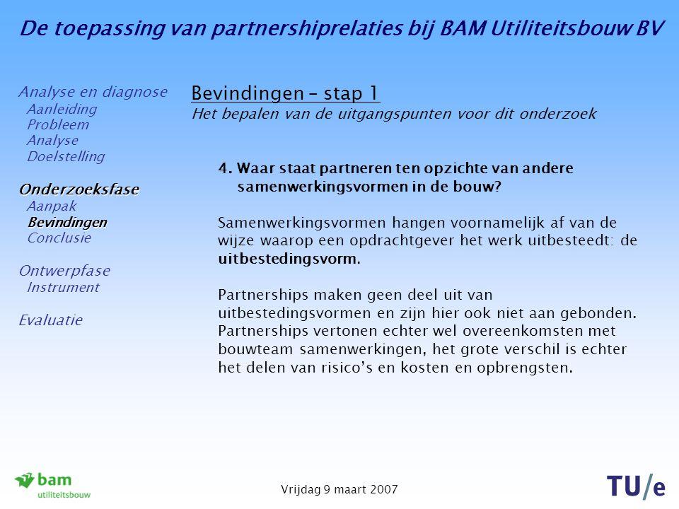 De toepassing van partnershiprelaties bij BAM Utiliteitsbouw BV Vrijdag 9 maart 2007 Bevindingen – stap 1 Het bepalen van de uitgangspunten voor dit o