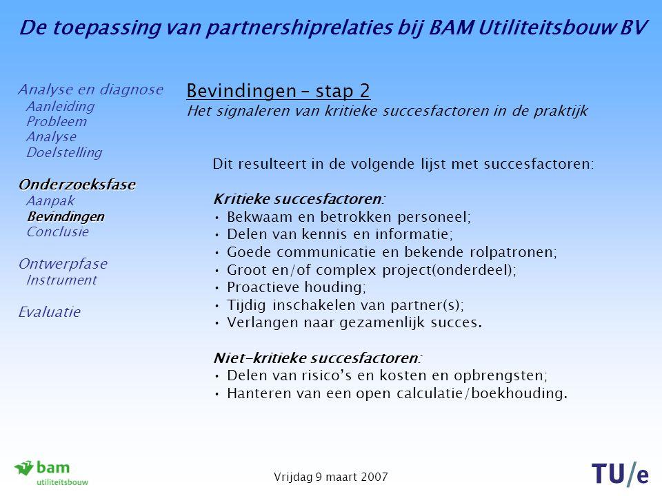 De toepassing van partnershiprelaties bij BAM Utiliteitsbouw BV Vrijdag 9 maart 2007 Bevindingen – stap 2 Het signaleren van kritieke succesfactoren i