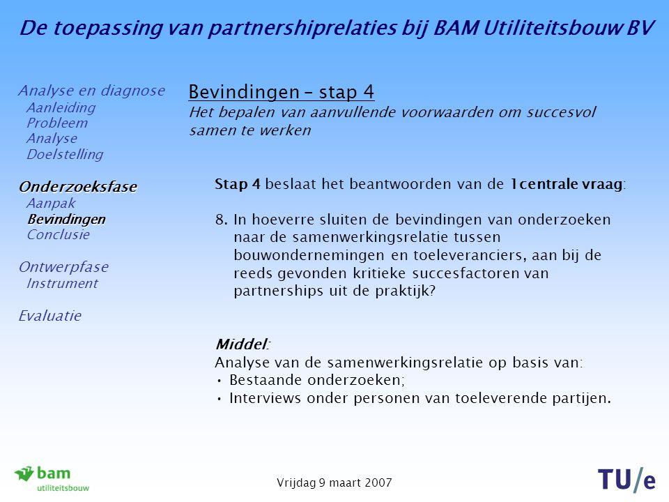 De toepassing van partnershiprelaties bij BAM Utiliteitsbouw BV Vrijdag 9 maart 2007 Bevindingen – stap 4 Het bepalen van aanvullende voorwaarden om succesvol samen te werken Stap 4 beslaat het beantwoorden van de 1centrale vraag: 8.