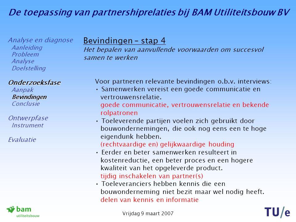 De toepassing van partnershiprelaties bij BAM Utiliteitsbouw BV Vrijdag 9 maart 2007 Bevindingen – stap 4 Het bepalen van aanvullende voorwaarden om succesvol samen te werken Voor partneren relevante bevindingen o.b.v.