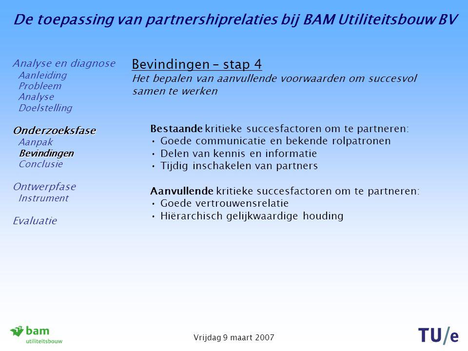 De toepassing van partnershiprelaties bij BAM Utiliteitsbouw BV Vrijdag 9 maart 2007 Bevindingen – stap 4 Het bepalen van aanvullende voorwaarden om s