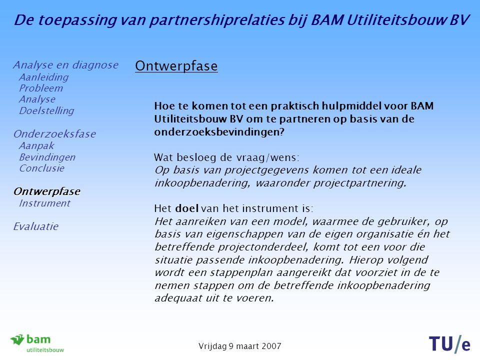 De toepassing van partnershiprelaties bij BAM Utiliteitsbouw BV Vrijdag 9 maart 2007 Ontwerpfase Hoe te komen tot een praktisch hulpmiddel voor BAM Ut