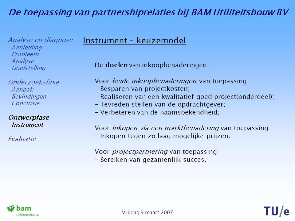 De toepassing van partnershiprelaties bij BAM Utiliteitsbouw BV Vrijdag 9 maart 2007 Instrument - keuzemodel De doelen van inkoopbenaderingen: Voor be