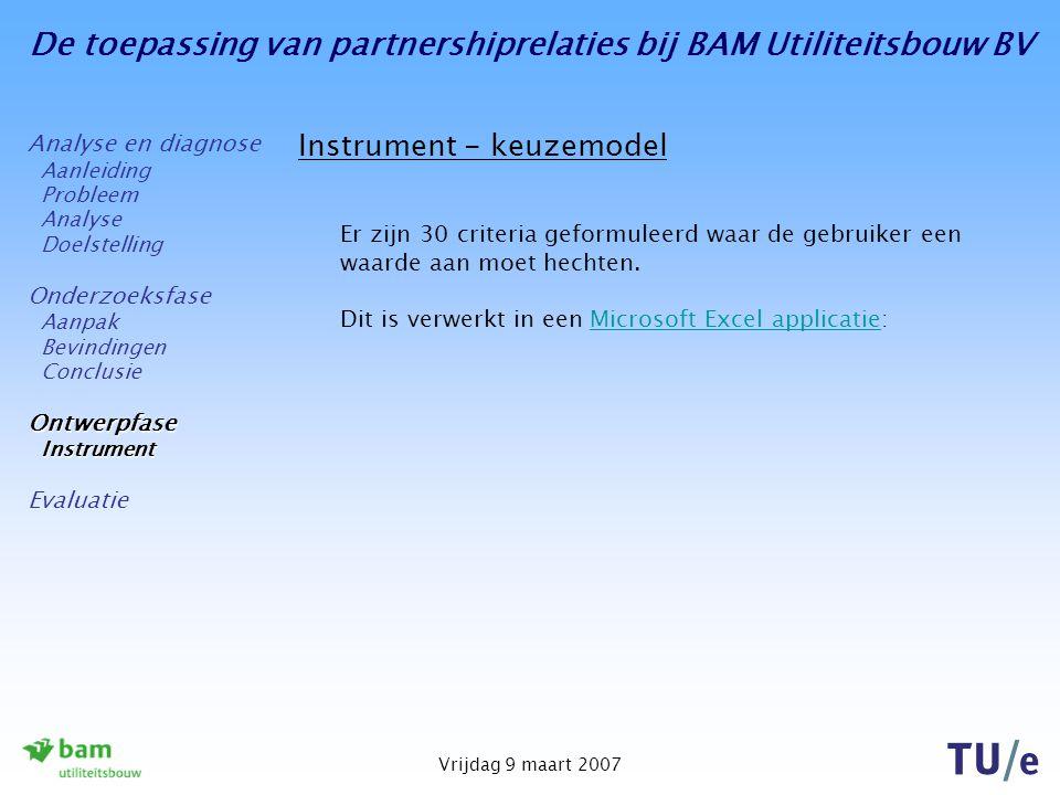 De toepassing van partnershiprelaties bij BAM Utiliteitsbouw BV Vrijdag 9 maart 2007 Instrument - keuzemodel Er zijn 30 criteria geformuleerd waar de gebruiker een waarde aan moet hechten.