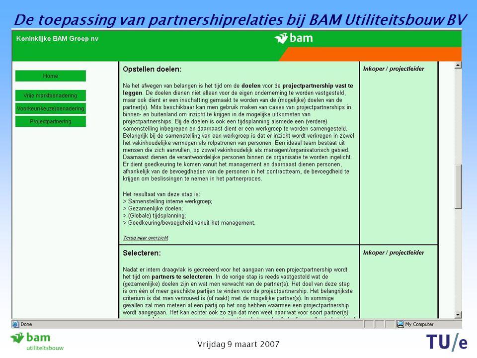 De toepassing van partnershiprelaties bij BAM Utiliteitsbouw BV Vrijdag 9 maart 2007 Instrument - website Dit model is geïntegreerd in een website, me