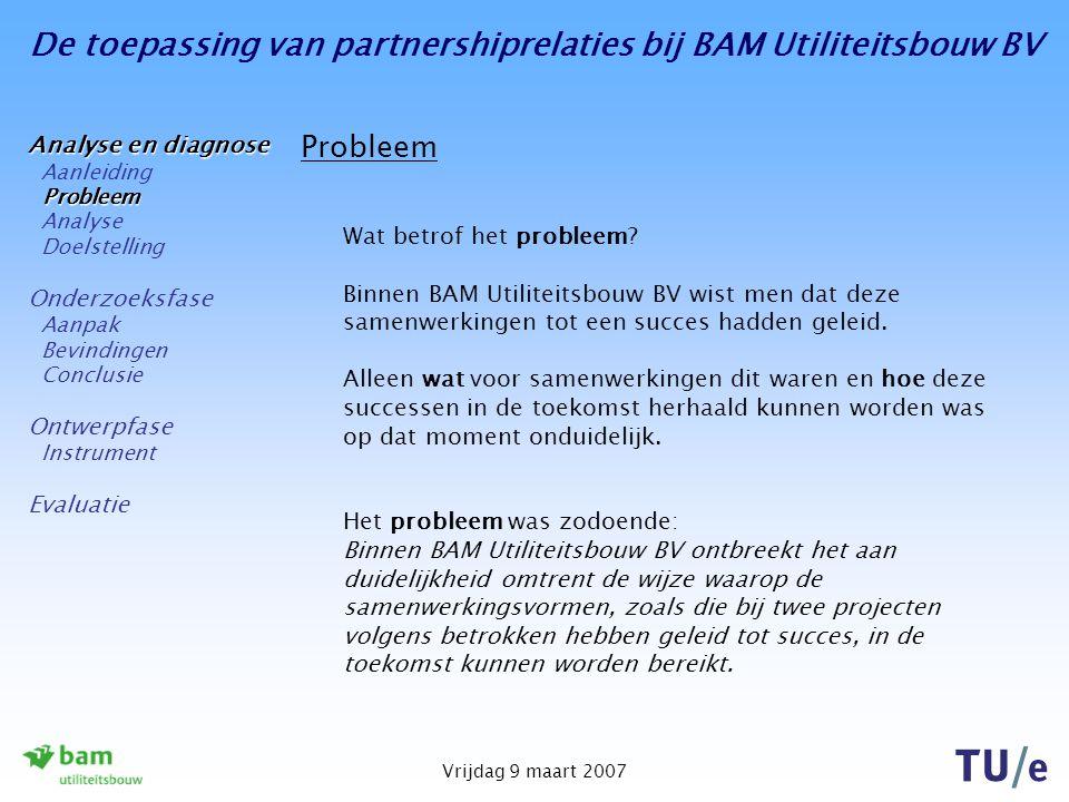 De toepassing van partnershiprelaties bij BAM Utiliteitsbouw BV Vrijdag 9 maart 2007 Conclusie De kritieke succesfactoren kunnen worden geïmplementeerd in een Balanced Scorecard: Vanuit vier perspectieven worden kritieke succesfactoren genoemd, aangevuld met indicatoren (en targets): Financiële perspectief; Interne perspectief; Klantperspectief; Leer- en groeiperspectief.