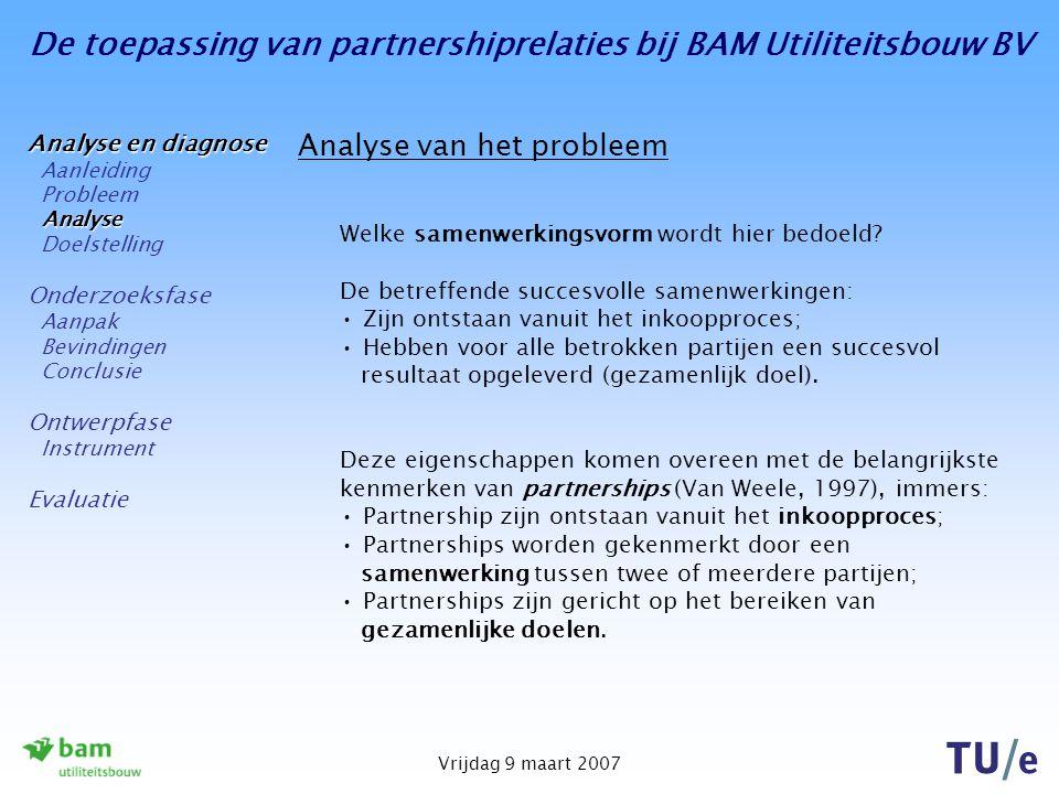 De toepassing van partnershiprelaties bij BAM Utiliteitsbouw BV Vrijdag 9 maart 2007 Evaluatie Knelpunten tijdens het afstudeerproces: Lastig om een geschikt onderwerp te vinden; Het was lastig om een geschikt onderwerp te vinden; Het bereiken van personen kostte soms veel inspanningen; Het formuleren (en bereiken) van de doelstelling; De koppeling tussen theorie en praktijk; Het programmeren van het instrument.