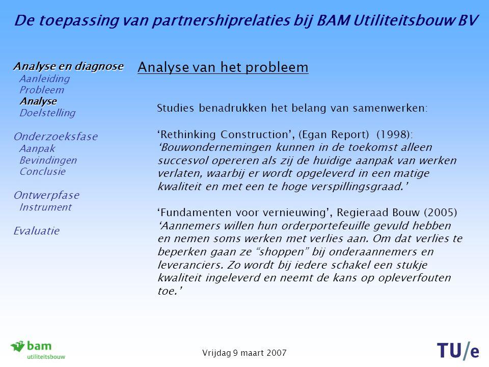 De toepassing van partnershiprelaties bij BAM Utiliteitsbouw BV Vrijdag 9 maart 2007 Bevindingen – stap 1 Het bepalen van de uitgangspunten voor dit onderzoek Resumé uitgangspunten: Kritieke succesfactoren (KSF-en): Zijn factoren die bepalend zijn voor het succesvol functioneren van een gebeurtenis; Worden geïmplementeerd middels een Balanced Scorecard.
