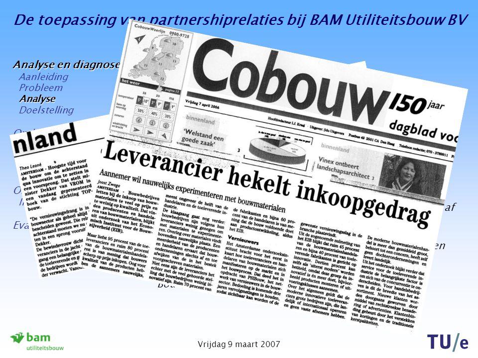 De toepassing van partnershiprelaties bij BAM Utiliteitsbouw BV Vrijdag 9 maart 2007 Analyse van het probleem Recente nieuwsberichten benadrukken het