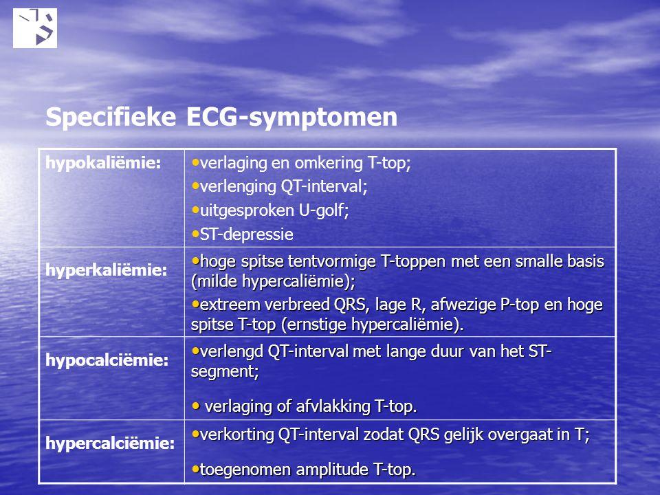 hypokaliëmie: verlaging en omkering T-top; verlenging QT-interval; uitgesproken U-golf; ST-depressie hyperkaliëmie: hoge spitse tentvormige T-toppen m