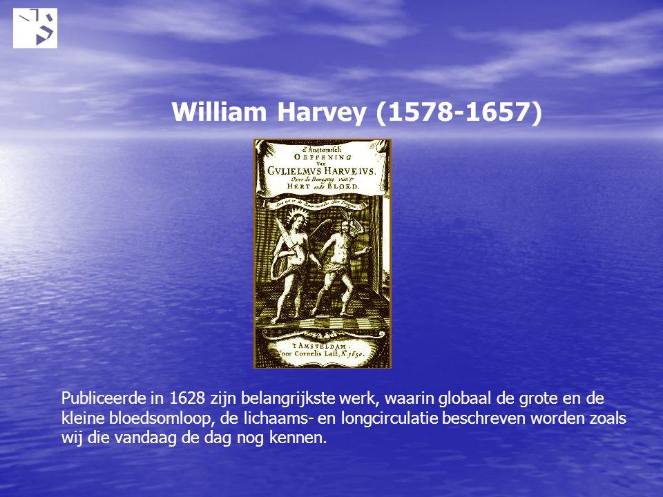 William Harvey (1578-1657) Publiceerde in 1628 zijn belangrijkste werk, waarin globaal de grote en de kleine bloedsomloop, de lichaams- en longcircula