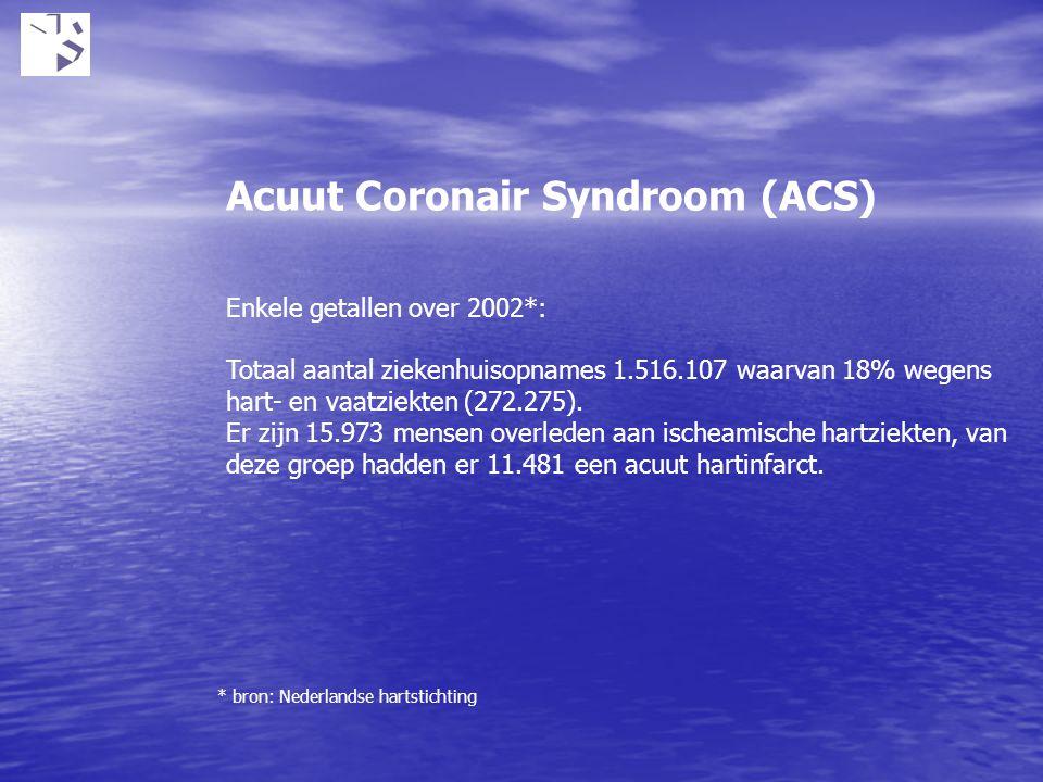 Acuut Coronair Syndroom (ACS) Enkele getallen over 2002*: Totaal aantal ziekenhuisopnames 1.516.107 waarvan 18% wegens hart- en vaatziekten (272.275).