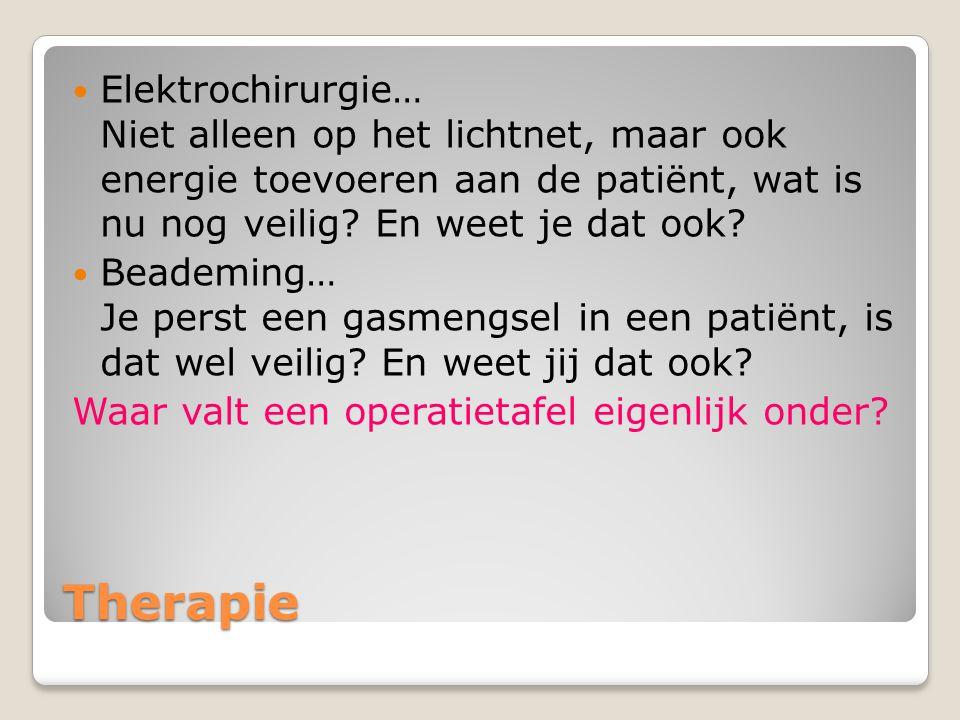 Therapie Elektrochirurgie… Niet alleen op het lichtnet, maar ook energie toevoeren aan de patiënt, wat is nu nog veilig.