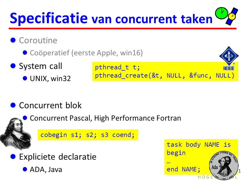 21 Specificatie van concurrent taken Coroutine Coöperatief (eerste Apple, win16) System call UNIX, win32 Concurrent blok Concurrent Pascal, High Performance Fortran Expliciete declaratie ADA, Java task body NAME is begin … end NAME; cobegin s1; s2; s3 coend; pthread_t t; pthread_create(&t, NULL, &func, NULL)