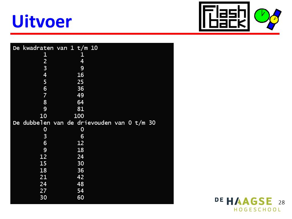 Uitvoer 28 De kwadraten van 1 t/m 10 1 1 2 4 3 9 4 16 5 25 6 36 7 49 8 64 9 81 10 100 De dubbelen van de drievouden van 0 t/m 30 0 0 3 6 6 12 9 18 12 24 15 30 18 36 21 42 24 48 27 54 30 60