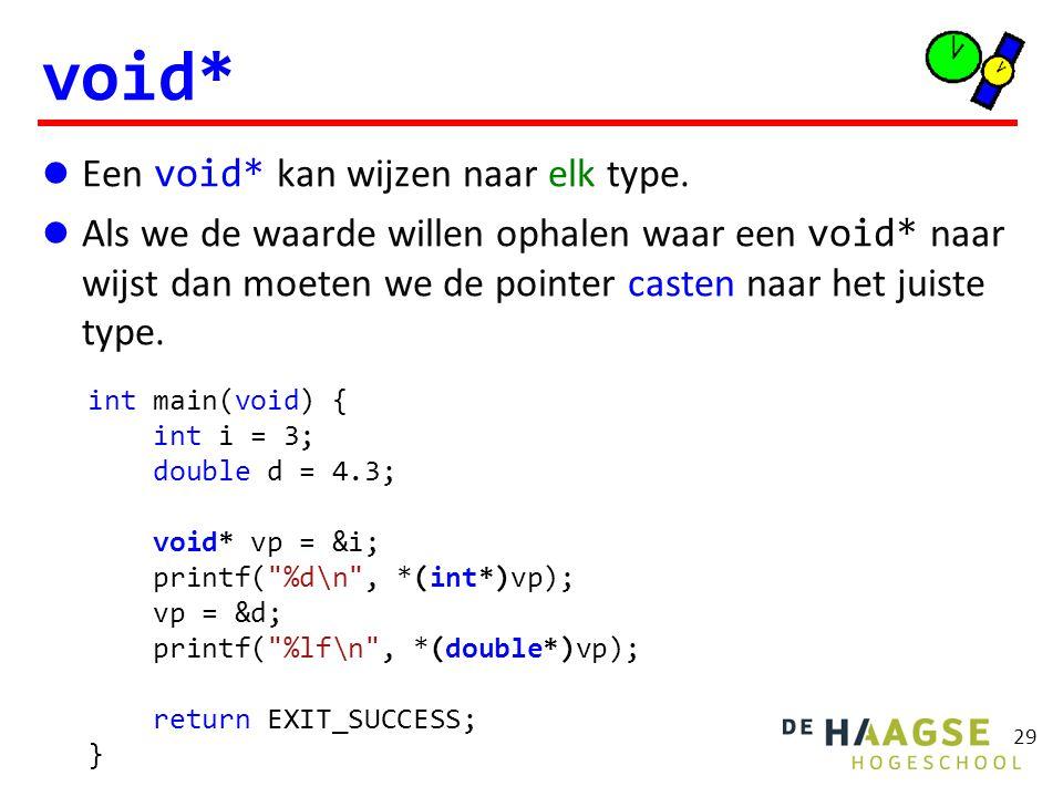 Een void* kan wijzen naar elk type.