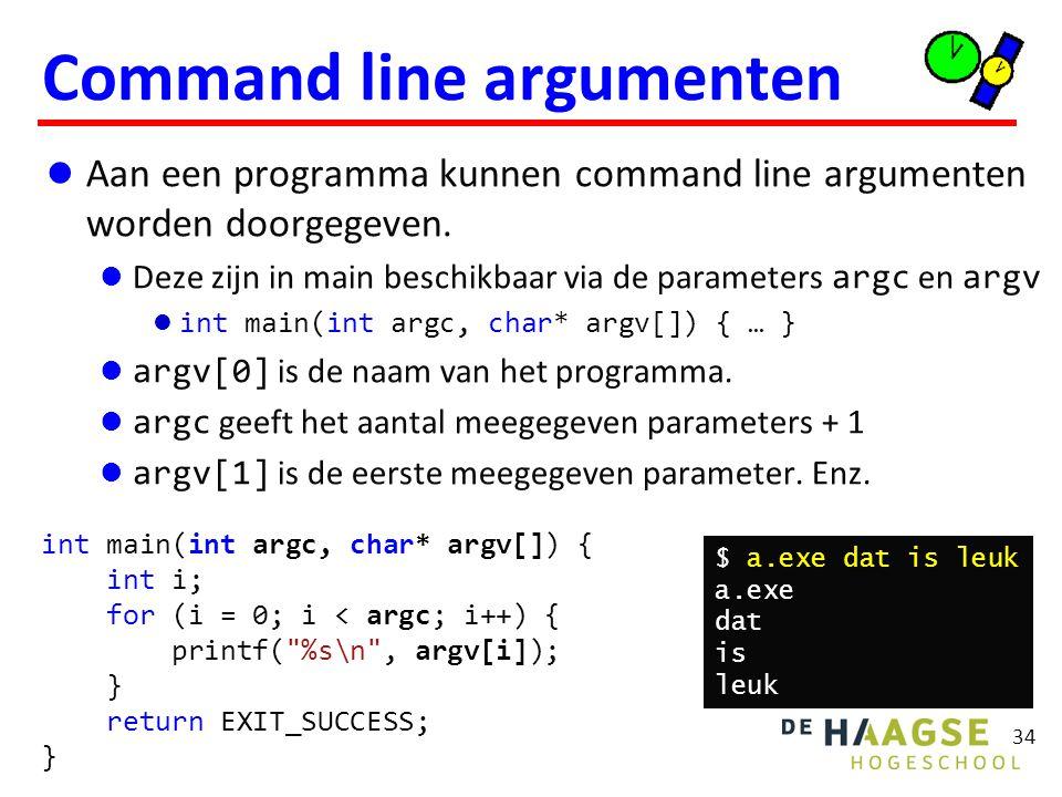 Aan een programma kunnen command line argumenten worden doorgegeven.