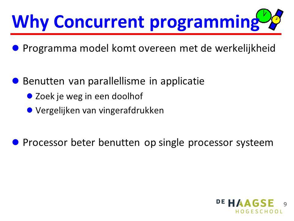 9 Why Concurrent programming Programma model komt overeen met de werkelijkheid Benutten van parallellisme in applicatie Zoek je weg in een doolhof Vergelijken van vingerafdrukken Processor beter benutten op single processor systeem