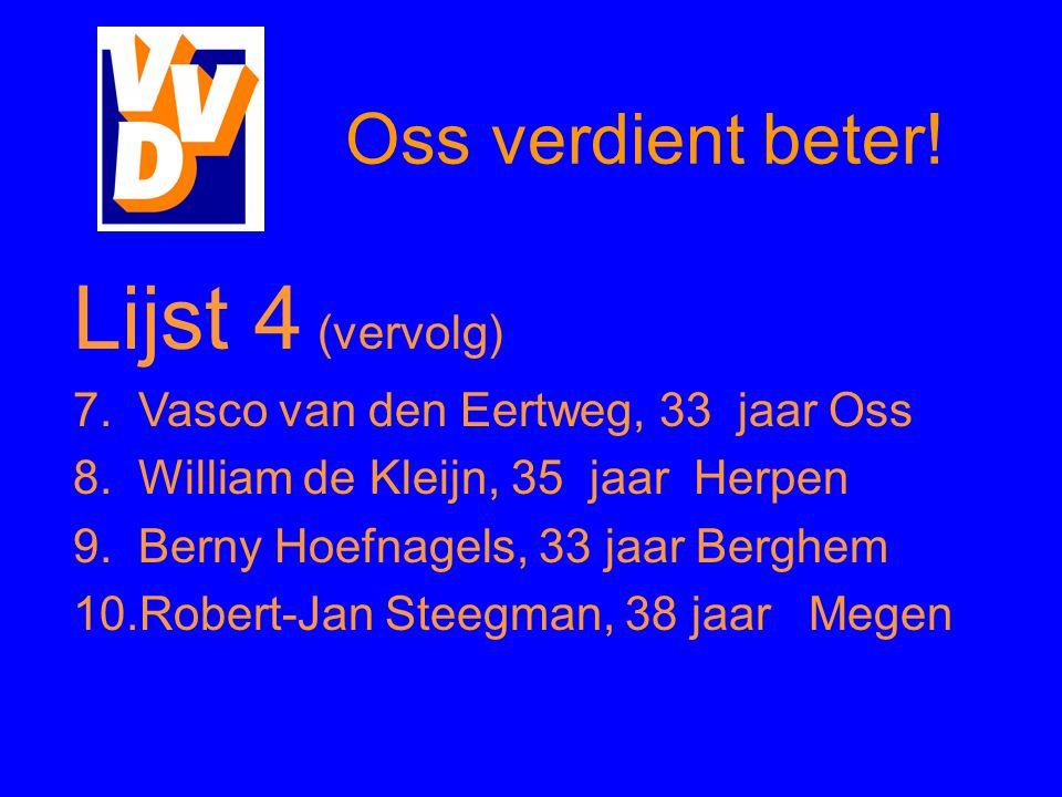 Oss verdient beter.Lijst 4 (vervolg) 7. Vasco van den Eertweg, 33 jaar Oss 8.