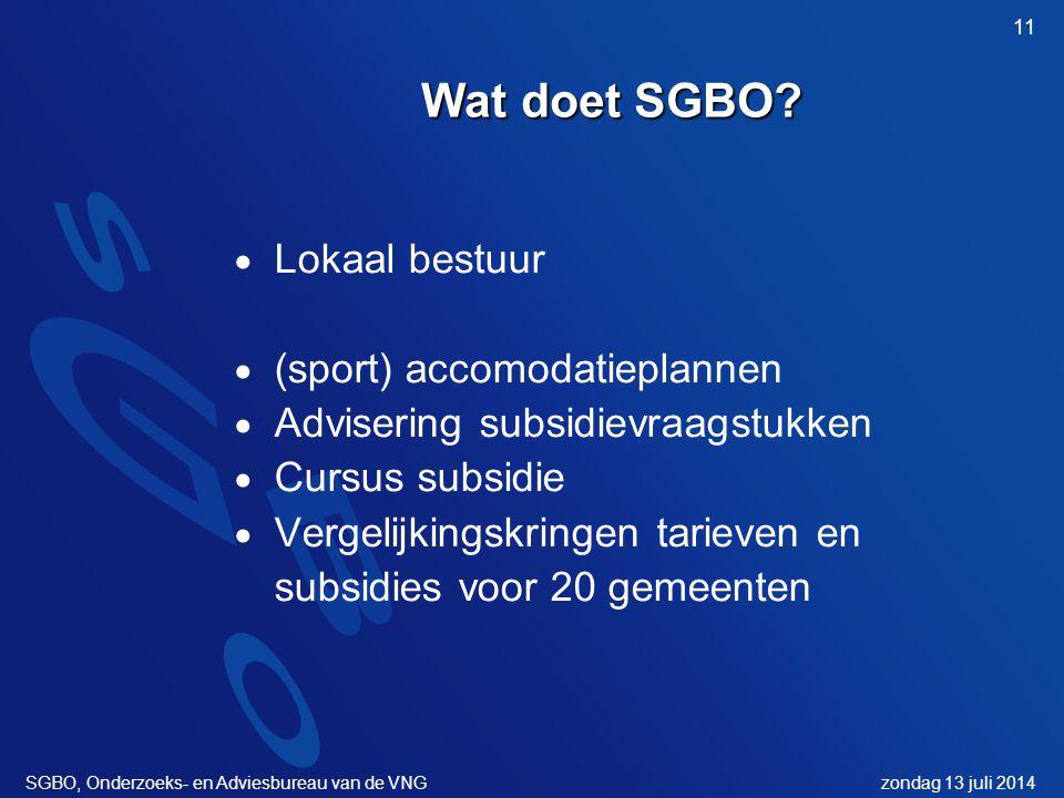 zondag 13 juli 2014SGBO, Onderzoeks- en Adviesbureau van de VNG 11 Wat doet SGBO.