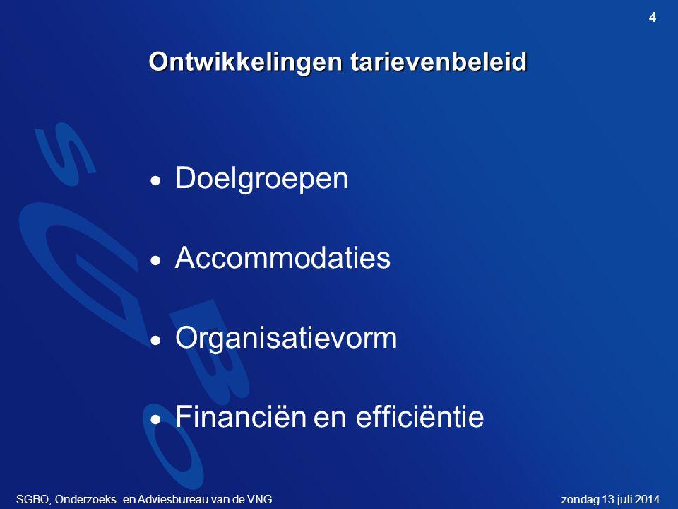 zondag 13 juli 2014SGBO, Onderzoeks- en Adviesbureau van de VNG 4 Ontwikkelingen tarievenbeleid  Doelgroepen  Accommodaties  Organisatievorm  Financiën en efficiëntie