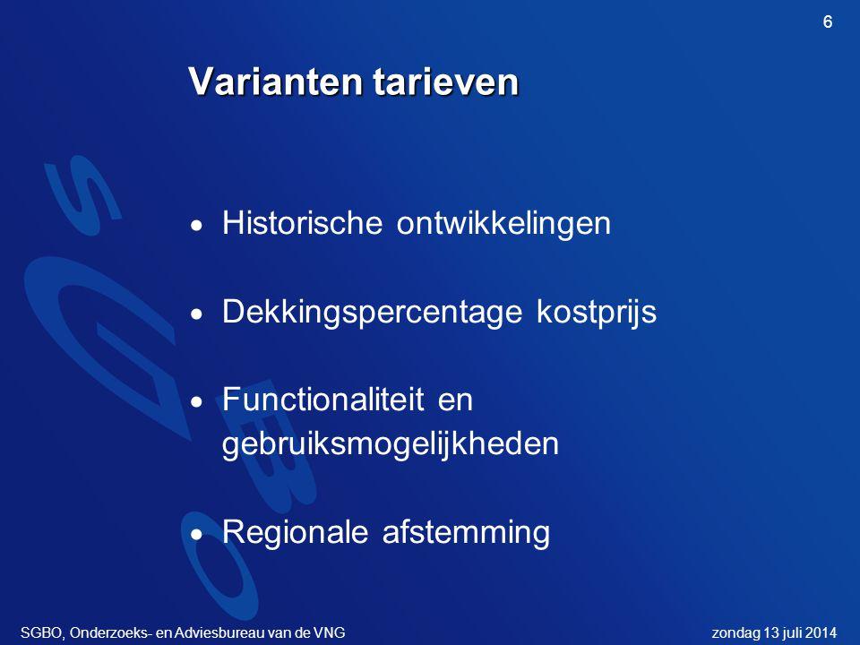 zondag 13 juli 2014SGBO, Onderzoeks- en Adviesbureau van de VNG 6 Varianten tarieven  Historische ontwikkelingen  Dekkingspercentage kostprijs  Functionaliteit en gebruiksmogelijkheden  Regionale afstemming