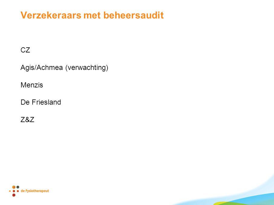 Verzekeraars met beheersaudit CZ Agis/Achmea (verwachting) Menzis De Friesland Z&Z
