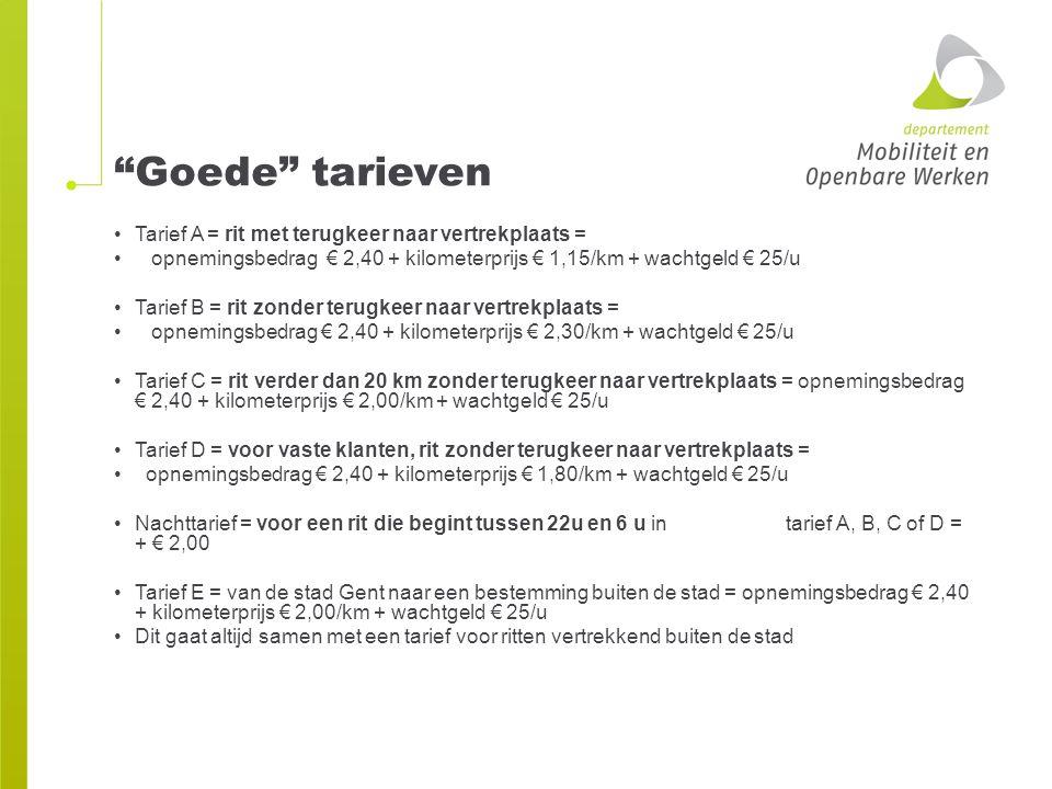 """""""Goede"""" tarieven Tarief A = rit met terugkeer naar vertrekplaats = opnemingsbedrag € 2,40 + kilometerprijs € 1,15/km + wachtgeld € 25/u Tarief B = rit"""