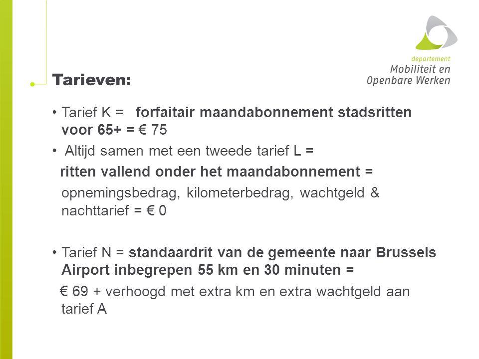 Tarieven: Tarief K = forfaitair maandabonnement stadsritten voor 65+ = € 75 Altijd samen met een tweede tarief L = ritten vallend onder het maandabonn