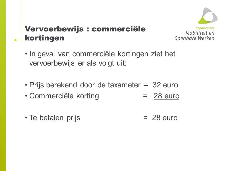 Vervoerbewijs : commerciële kortingen In geval van commerciële kortingen ziet het vervoerbewijs er als volgt uit: Prijs berekend door de taxameter = 3