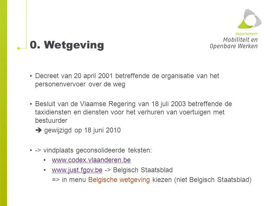0. Wetgeving Decreet van 20 april 2001 betreffende de organisatie van het personenvervoer over de weg Besluit van de Vlaamse Regering van 18 juli 2003
