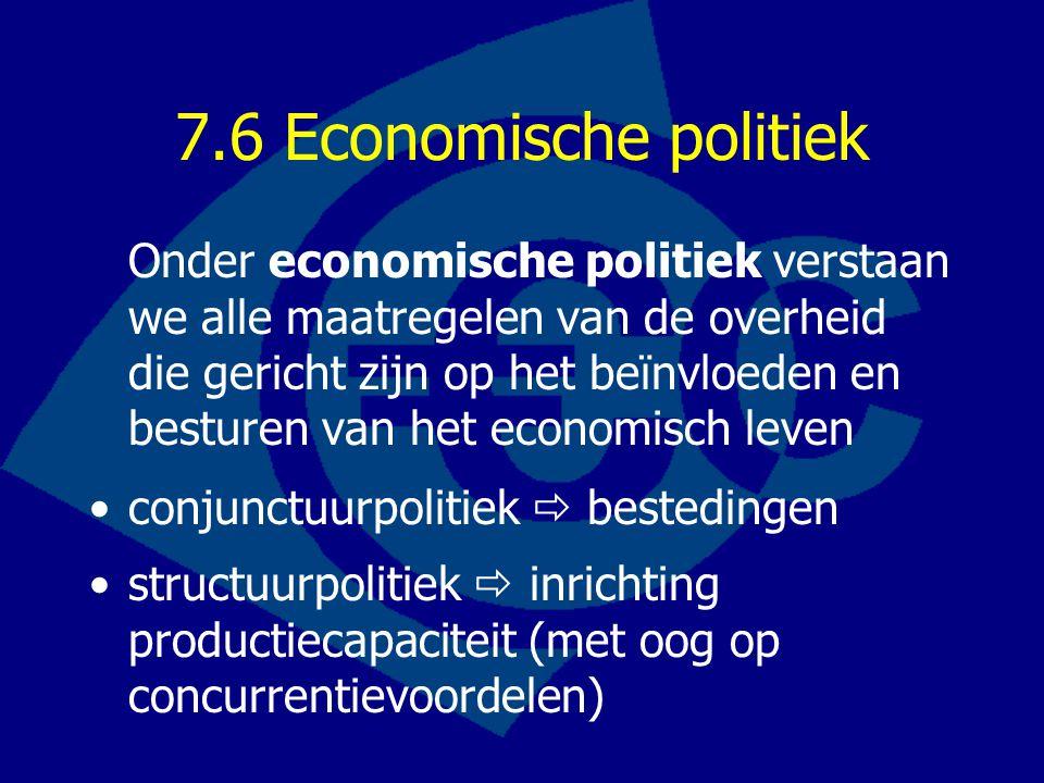 7.6 Economische politiek Onder economische politiek verstaan we alle maatregelen van de overheid die gericht zijn op het beïnvloeden en besturen van het economisch leven conjunctuurpolitiek  bestedingen structuurpolitiek  inrichting productiecapaciteit (met oog op concurrentievoordelen)