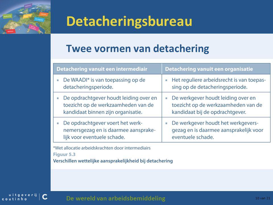 De wereld van arbeidsbemiddeling 10 van 21 Detacheringsbureau Twee vormen van detachering