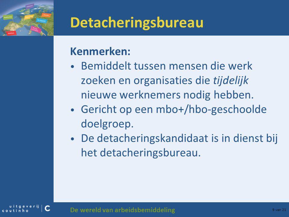 De wereld van arbeidsbemiddeling 9 van 21 Detacheringsbureau Kenmerken: Bemiddelt tussen mensen die werk zoeken en organisaties die tijdelijk nieuwe w