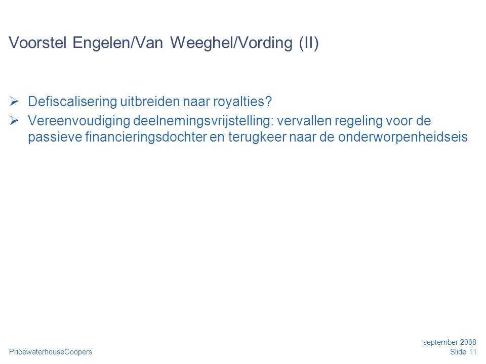 PricewaterhouseCoopers september 2008 Slide 11 Voorstel Engelen/Van Weeghel/Vording (II)  Defiscalisering uitbreiden naar royalties.